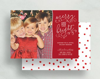 merry & bright holiday card // personalized photo card // red christmas card // hand lettered // printable // digital // custom holiday card