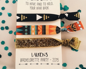 bachelorette party favor hair ties // to have and to hold.. your hair back // aztec // custom