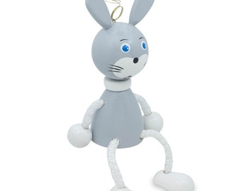 "4"" Jumping Rabbit Wooden Doll on a Spring- SKU # OLVOZ1C"