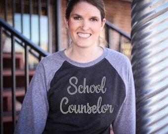 School Counselor Rhinestone Shirt