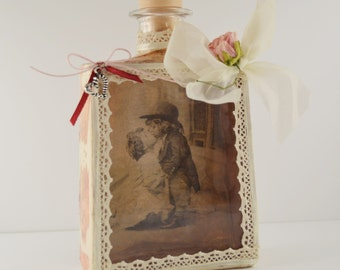 Decoupage glass bottle