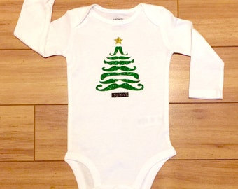 Custom Print CHRISTMAS TREE GLITTER mustache - Funny Baby Clothes Cute Adorable Gift Bodysuit One Piece Romper Xmas Onesie