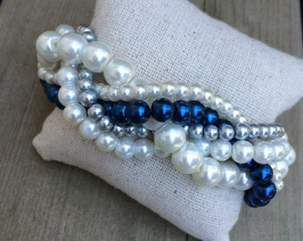 Braided cuff, ivory pearl bracelet, bridesmaids bracelet, navy pearl bracelet, pearl bracelet, statement bracelet, navy bridesmaids, navy