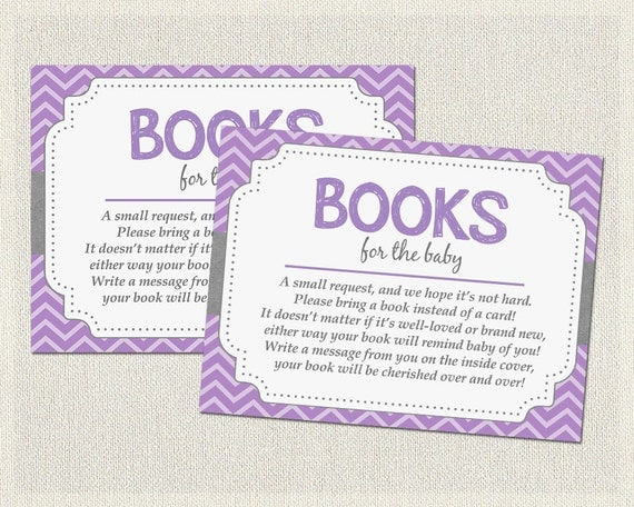bring a book insert baby shower book request books for baby purple
