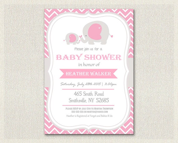 baby shower invitation pink elephant theme chevron gray baby invite