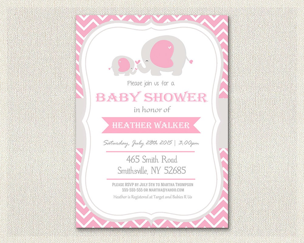 baby shower invitation pink elephant theme chevron gray baby