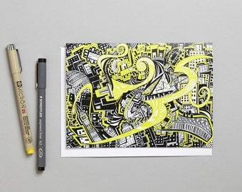 Blank greeting card 'London Yellow'/doodle/zen art made in the UK