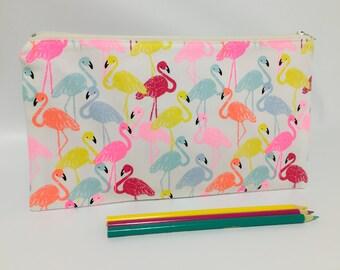 Zipper Pouch, Pencil Case, Clutch, Teacher Gift, Teen gift, New Mum Gift, Nappy Bag, Bag Organiser,Cosmetic bag, Flamingo pouch