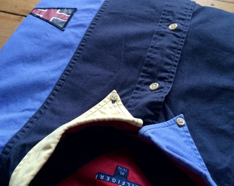 TOMMY HILFIGER Shirt / Button Down /  Yellow/ Blue / Navy / Patches / XL / Oversized