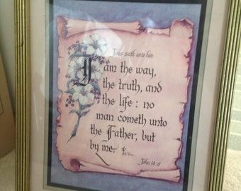 Lovely gold framed print on faith