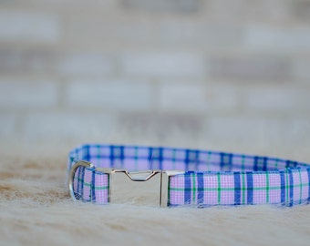 Pink Plaid Dog Collar- Small, Medium, Large- 5/8 inch, 3/4 inch, 1 inch- Made to Order