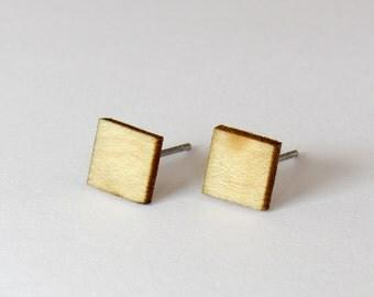 Square Stud Earrings - Maple Wood / Sterling Silver