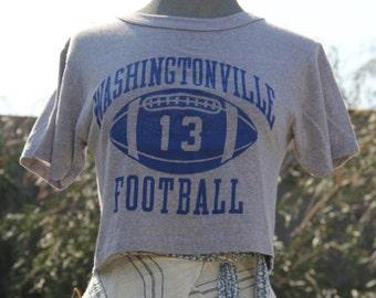vintage worn athletic cropped football favorite tshirt