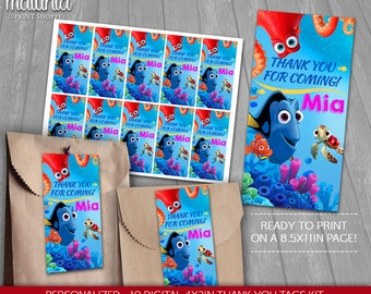 Finding Dory Thank You Tags Printable - PERSONALIZED - Disney Pixar Dory Nemo Birthday Party tags - Finding Dory Birthday Labels - Dory Nemo