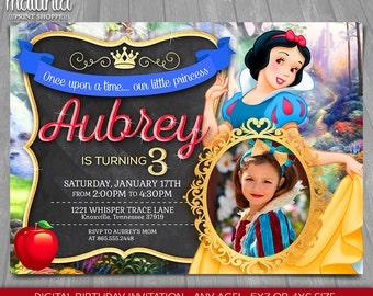 Snow White Invitation - Disney Snow White Invite - Snow White Birthday Printed Invitation with photo - Snow White Birthday Party (SWIN01)