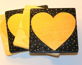 Gold Heart Wood Coaster