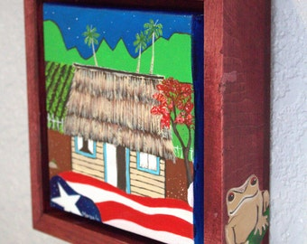 Puerto Rico Painting, Puerto Rican Flag with Bohio, Puerto Rico Folk Art, Puerto Rican Flag painting
