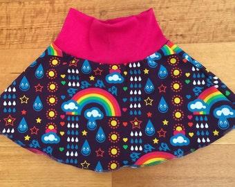 Handmade rainbowphant fold waist skater skirt sizes 000-6