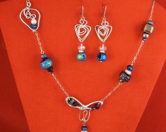 necklace and earrings resin crystal  strass stainless
