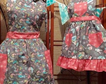 Mother, daughter aprons , girls apron , full apron