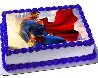 Superman Edible Cake Topper, Superman Frosting Sheet, Superman Birthday, Superhero birthday,cupcake topper,
