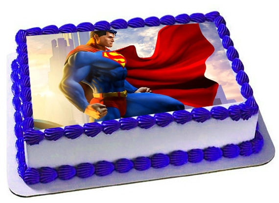 Superman Edible Cake Images : Superman Edible Cake Topper Superman Frosting Sheet Superman