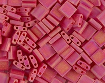 Tila Bead- Matte Op Red AB  #408FR  Miyuki Tila Beads - 10 grams