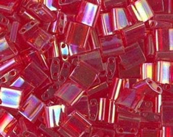 Tila Bead- Tr Red AB #254  Miyuki Tila Beads - 10 grams