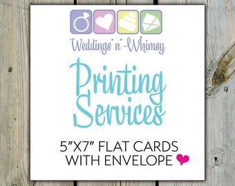 PRINTING SERVICES ADDON - 5x7 Invitations/Cards with Envelopes