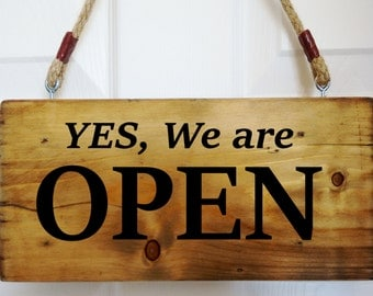 Open / Closed Time Hanging Shop Sign / Restaurant - Window - Door - Rustic Wood