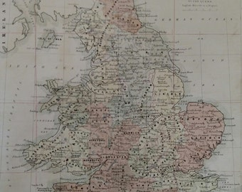 Antique Original 1858 Map of England by W and A K Johnston 8X9