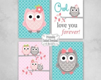 Printable Owls Baby Nursery Wall Art Decor in Pink Turquoise Grey Owls Baby Girl Infant Child Kids ~ DIY Instant Download ~ 4 8x10 Prints