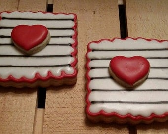 Dimensional Striped Valentine's cookies - One Dozen