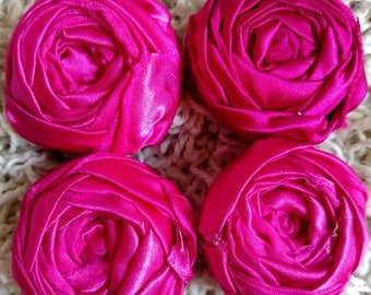 Hot Pink Satin Rosettes 2""