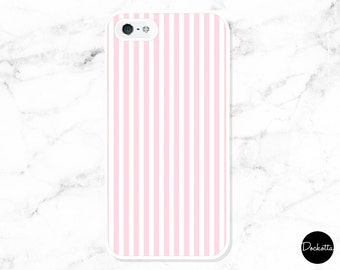 Pink and White Striped iPhone & Samsung Case