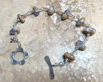Blue Chalcedony and Sterling Silver Bracelet