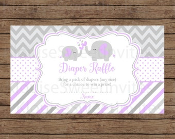 Printable Purple and Gray Elephant Baby Shower Diaper Raffle, JPEG 300DPI, 3.5x2 inches