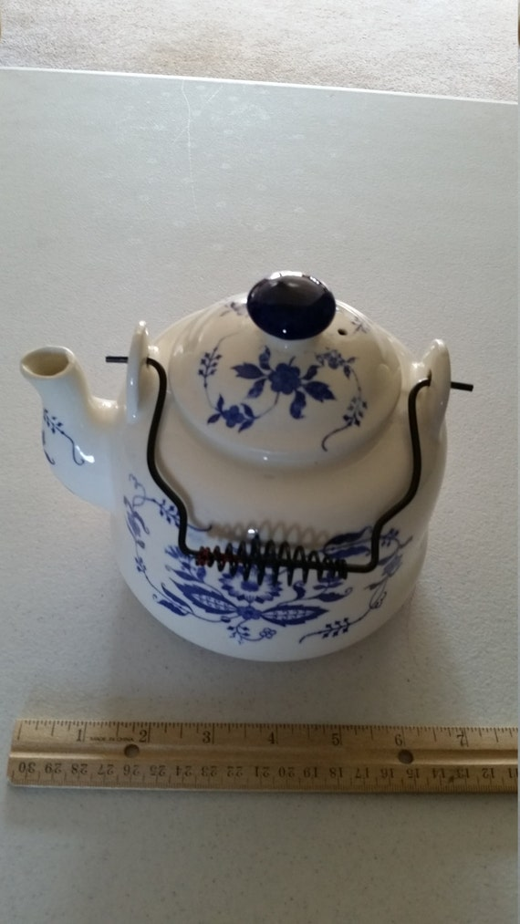 Vintage Nevco Japan Teapot W Wire Handle Blue By