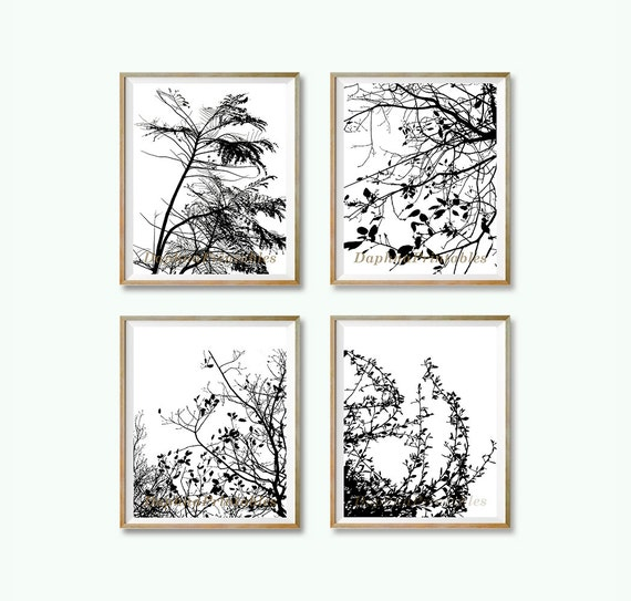 Modern minimalist wall d cor tree wall art print 4 art set for Modern minimalist wall art