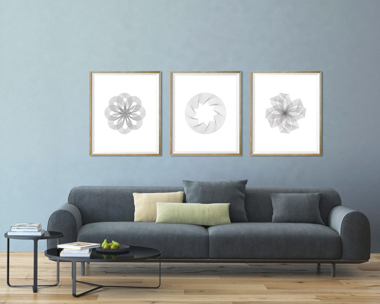 Gray modern wall art minimalist wall print gray and white for Minimalist wall hangings