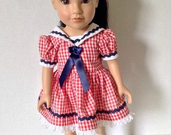 Trendy Sailorette Dress for an 18 Inch Doll with a Retro Style