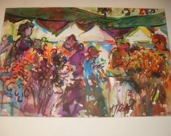 Al Setton Flower Market Watercolor 21 x 14 inches