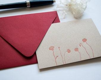 Red Poppy Letterpress Notecard - Set of 6