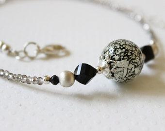 White gold Ca'd'oro Murano glass bead necklace