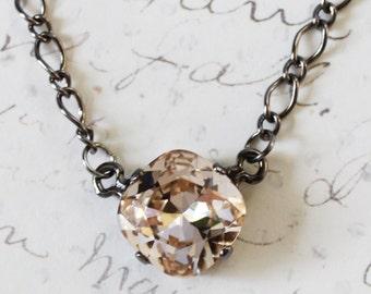 Swarovski crystal necklace on gunmetal chain