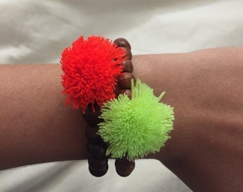Neon yellow/green & coral tassel beaded bracelet