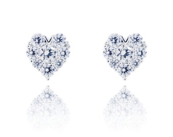 925 Sterling Silver Sparkle Heart Stud Earring 0.76 CT.TW (S219)