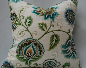 Teal and Ivory Floral Pillow Cover. Decorative throw pillows