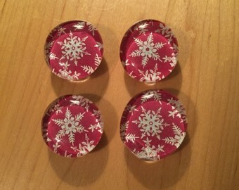 Red Snowflake Pattern Glass Bubble Magnets - Set of Four