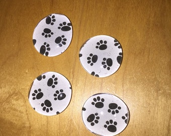 Paw Print Bubble Magnets - Set of Four